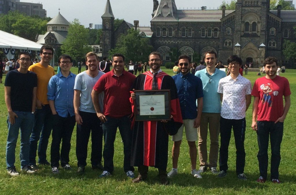 Dr. Hinebaugh's Convocation, June 15, 2015: Hang Liu, Reza Fazeli, Nan Ge, Mike George, Mostafa Sharqawy, James Hinebaugh, Faraz Arbabi, Stéphane Chevalier, Chung Lee, and Patrick Antonnacci.