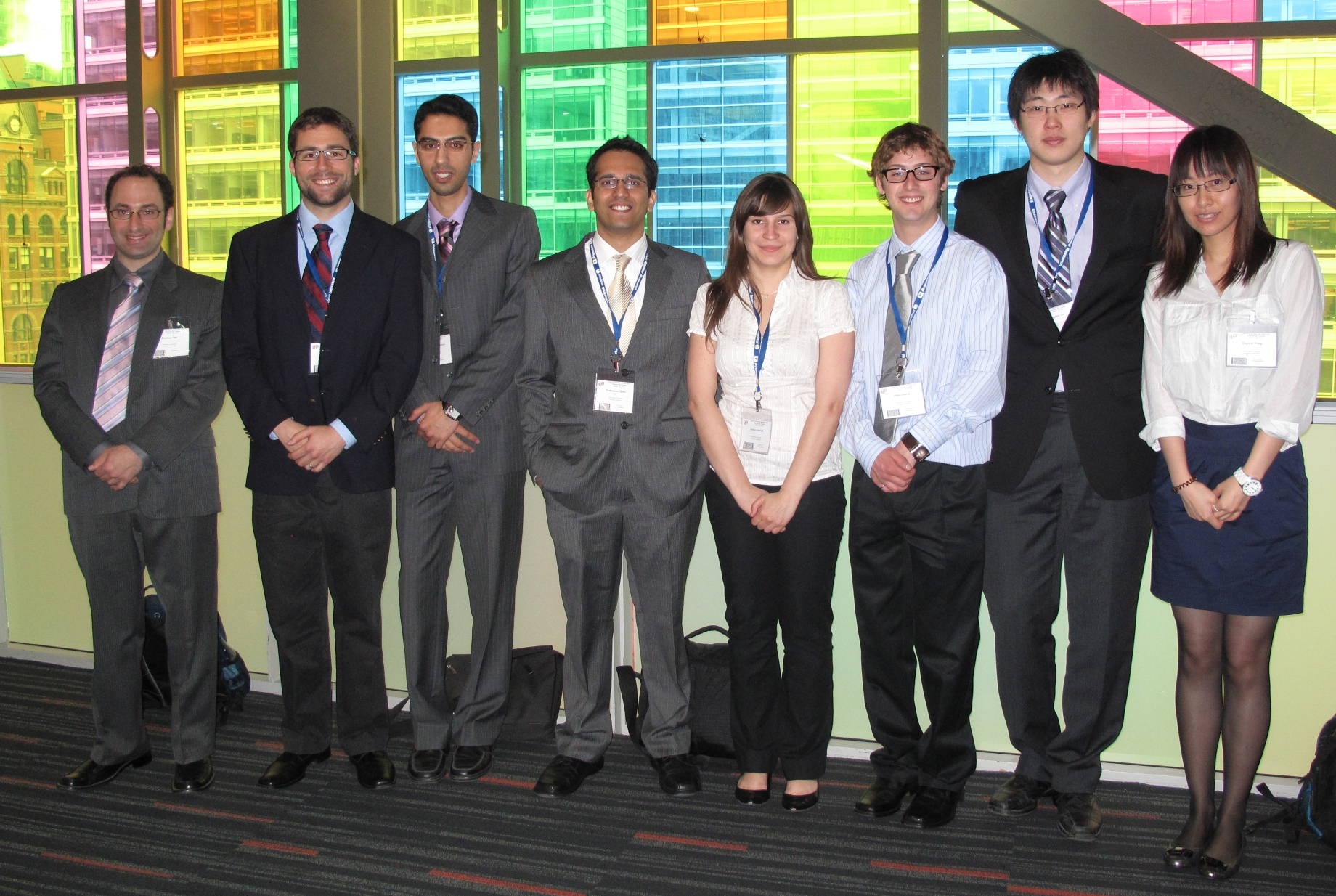 ECS in Montreal 2011: Jon Ellis, James Hinebaugh, Ali Ebrahimi, Pradyumna Challa, Jessica Yablecki, Dillon Fuerth, Jongmin Lee, and Jingwen Wang.