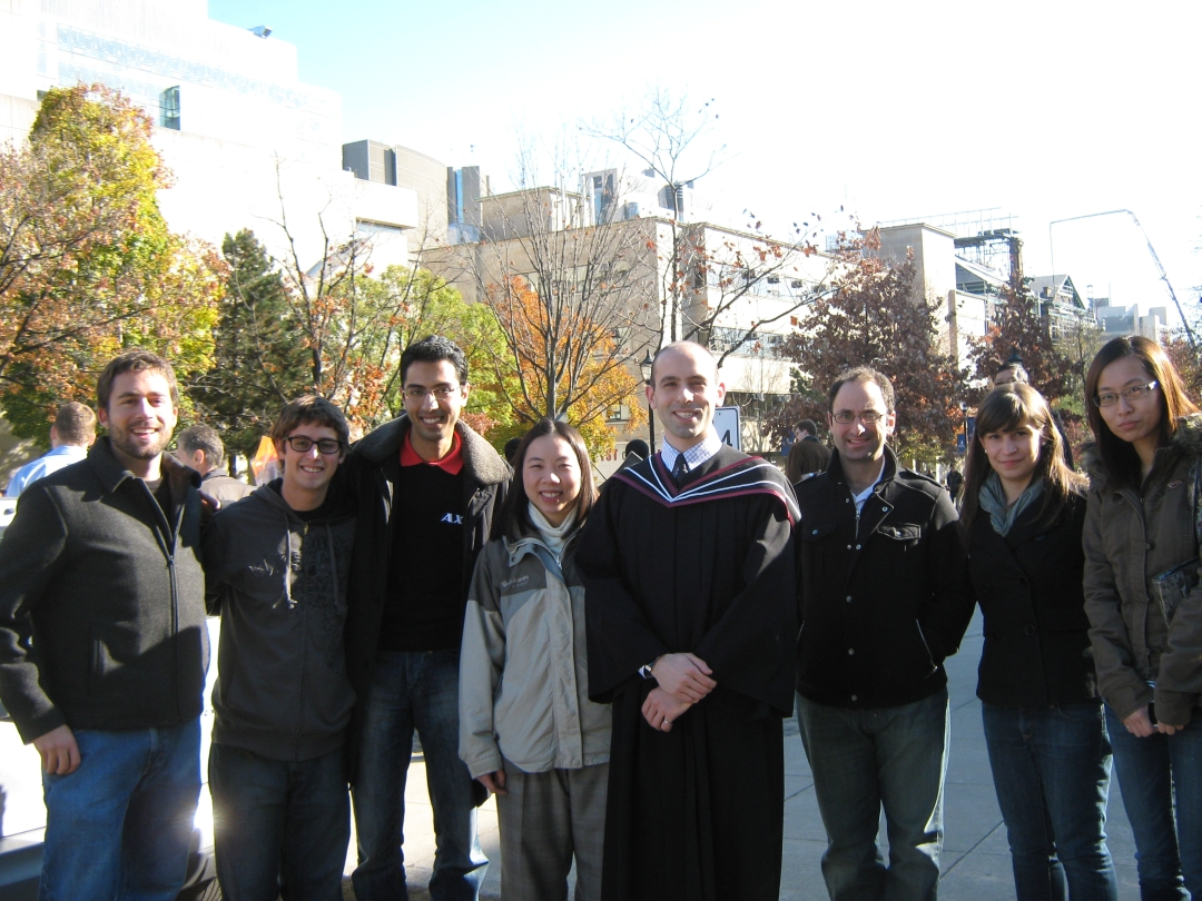 Zach graduates Nov 2010: James Hinebaugh, Dillon Fuerth, Ali Ebrahimi, Aimy Bazylak, Zach Fishman, Jon Ellis, Jessica Yablecki, and Jingwen Wang